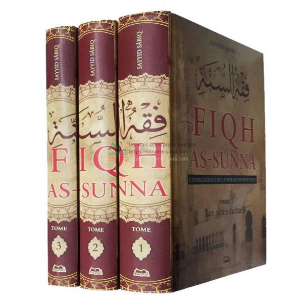 Fiqh As-Sunna (L'intelligence de la norme prophétique ), de Sayyid Sabiq, 3 tomes Cet ouvrage traite des questions de jurisprudence islamique assorties de leurs arguments tirés de l'évidence du Coran et de l'authentique de la Sunna, ainsi que du consensus de la Communauté. Ces questions sont exposées avec simplicité et regroupent tout ce dont le musulman a besoin. On a évité de citer les divergences entre les docteurs de la Loi, sauf si leur mention s'avérait nécessaire, auquel cas nous en avons fait état. Ce livre donne une image réaliste de la jurisprudence islamique avec laquelle Dieu a envoyé Son messager et ouvre aux hommes les portes de la compréhension de ce qui émane de Dieu et de Son messager, en les rassemblant autour du Coran et de la Sunna, mettant fin aux divergences, à l'attachement sectaire aux écoles juridiques et à l'assertion qui veut que les portes de l'ijtihâd (effort d'interprétation) soient fermées.